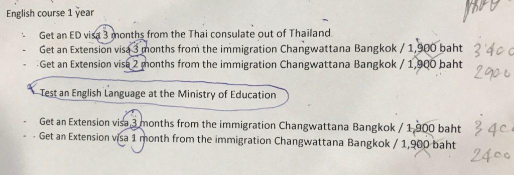 バンコクの学生ビザが取得できる  Pro Language ビザ更新料