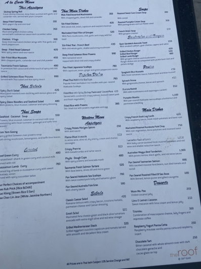 バンコク 38th bar Food menu フードメニュー