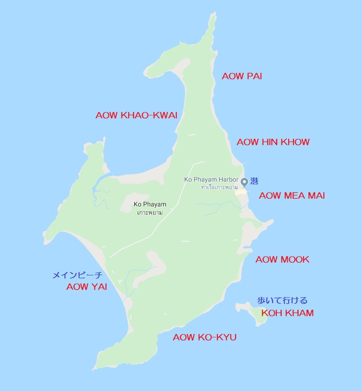 タイ パヤム島の地図 kho phayam map