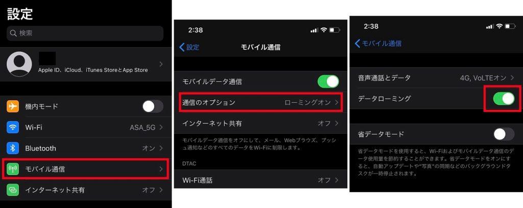 「国際ローミングの許可する」に設定:iPhoneの場合