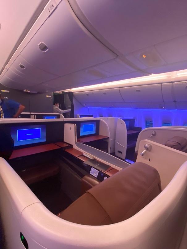 JALのビジネスクラスの座席も素敵です